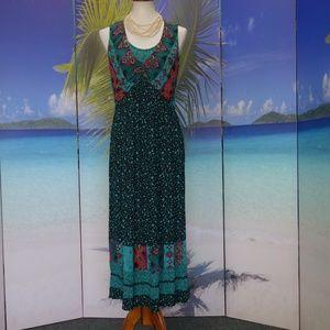 Vintage Carol Little Boho Festival Maxi Dress